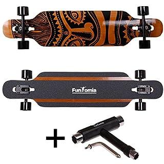 FunTomia® Longboard Skateboard Drop Through Cruiser Komplettboard mit Mach1® ABEC-11 High Speed Kugellager T-Tool (Modell Freerider2 Bambus Fiberglas - Farbe Hawaii + T-Tool)