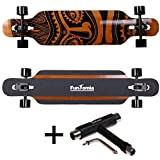 FunTomia Longboard aus Bambus und Fiberglas in 3 Flexstufen - Drop Through Komplettboard mit Mach1 ABEC-11 High Speed Kugellager + T-Tool (Flex 3: 25 bis 60kg - Bambus - Design: Hawaii)