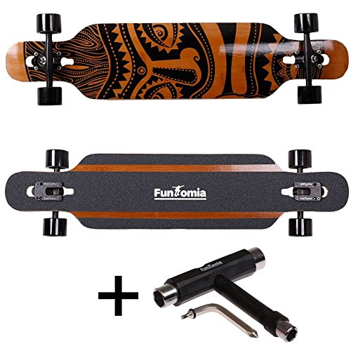 FunTomia Longboard aus Bambus und Fiberglas in 3 Flexstufen - Drop Through Komplettboard mit Mach1 ABEC-11 High Speed Kugellager + T-Tool (Flex 2: 25 bis 80kg - Bambus/Fiberglas - Design: Hawaii) (608 Abec 5 Lager)