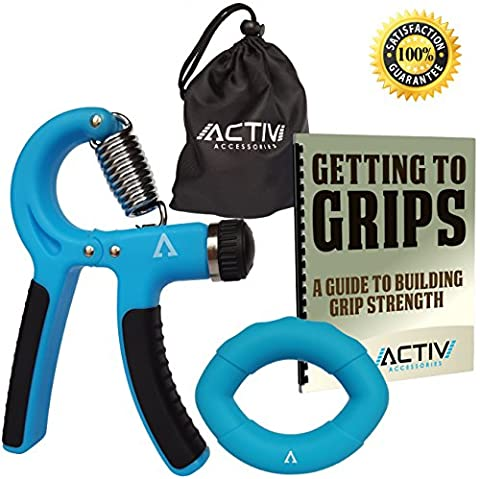 Grip Strengthener Bundle by Activ Accessories – Training Guide & Equipment – Hand Exerciser – Adjustable Resistance Trainer for Hand, Fingers and Forearm – Equipment and eBook for Guitar players, Rock Climbing, Arthritis and Therapy