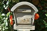 BLACK HBK-RD-SCHWARZ Holz-Briefkasten, Briefkasten mit Holz - Deko aus Holz groß schwarz anthrazit lasiert grau dunkel Briefkästen Postkasten Runddach