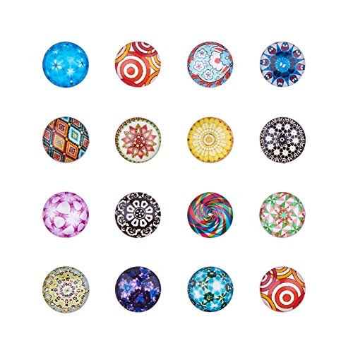 PandaHall 200 Pcs Mosaic Printed Glass Cabochons, Flatback Dome Cabochons Pendant for jewellery making Mixed Color, 12x4mm