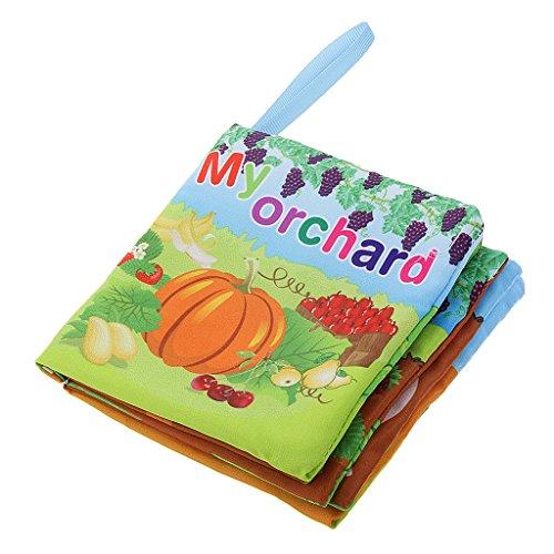 Baby Tuch-Buch Kind Weiches Gewebe Buch Baby pädagogisches Spielzeug Entwicklungs-Spielzeug - Obstgarten, Größe: 11 x 11,5 cm