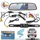 b-creative 10,9cm LCD Spiegel Monitor + 7LED IR Rückfahrkamera Kabellos Peugeot 2008, 205, 206, 206CC, 206SW, 207Auto Rear View Kit