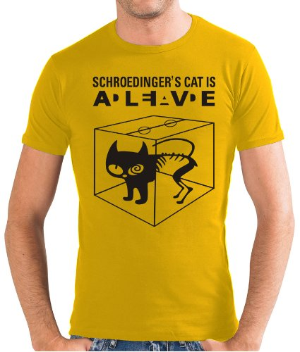 Touchlines Slimfit T-shirt - Schroedingers Cat Is Alive-T-shirt Uomo,    oro x-large