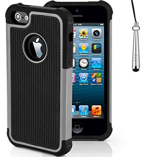 iCHOOSE iPhone SE antichoc Case robuste constructeurs robustes durables Couverture / Offres améliorée Grip avec Protector gratuit d'écran et New Stylet / Cas Covers et accessoires pour 2016 Apple iPho Gris