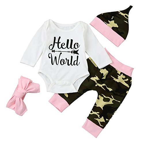 HCFKJ NiñOs ReciéN Nacido Bebé NiñO Chica Carta Mameluco Tops + Camuflaje Pantalones Conjuntos (70, Blanco)