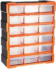 Tactix 18-drawers Storage Bin, Black And Orange Ttx-320634