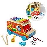 Xylophon Klavier, Steckbox, Pull entlang Auto, Holz Tiere Weihnachten Geburtstag Geschenke für Kinder 3 4 5 6 Jahren