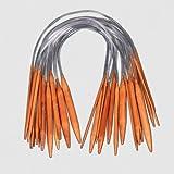 Ostart 18 Pairs 16'' (40cm) Circular Carbonized Bamboo Knitting Kits Needles Set (2.0mm - 10.0mm)