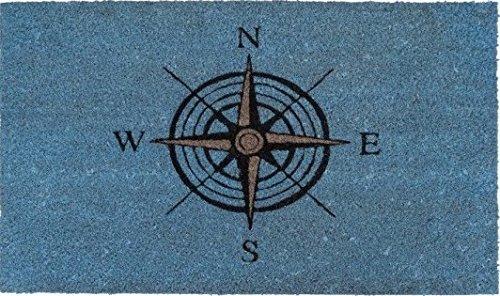Kokos-Fußmatte Windrose blau