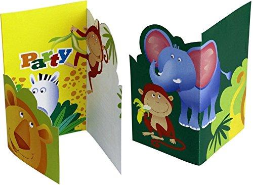 6 Party Einladungen Safari 8,5 x 14 cm Einladungskarten Geburtstagskarten Kindergeburtstag Geburtstag (Einladungen Safari-geburtstags-party)