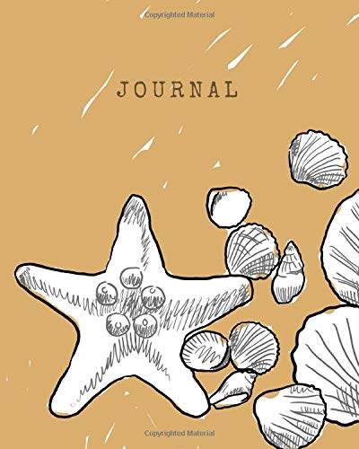 Journal: Writing Notebook, White Seashells Illustrated Blank Lined, 120 Pages, 8