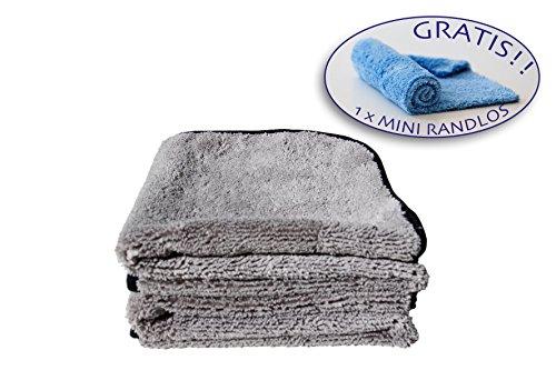3 für 2: Zwei Premium Microfaser-Tücher 40 x 40 cm. Poliertuch, Trockentuch, Reinigungstuch, Putztuch, Auto Mikrofaser-Tuch zum Waschen, Putzen, Polieren und Trocknen von Fahrzeugen- Ideal für die Autopflege. Seidensaum Kante für schonende Reinigung. UND Mini Randlos Microfaser-Tuch