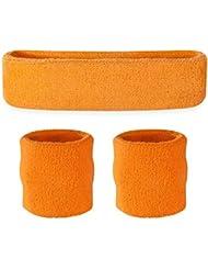 Suddora–Set infantil, 1 banda para cabeza y 2 muñequeras, naranja fluorescente