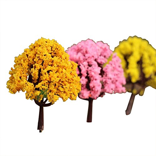 20pcs//set Orange Flowers Model trees 3//4//5//6//8cm Railway Scenery HO OO scale