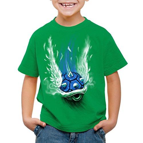 style3 Blauer Panzer T-Shirt für Kinder kart videospiel konsole mario, Farbe:Grün;Größe:152