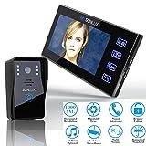 SUNLUXY Portier Vidéo Interphone Visiophone 7'' TFT LCD Coloré Sonnette d'Intercom Carillon Electronique Surveillance Déverrouillage IR Vision Nocturne pour la Sécurité Maison