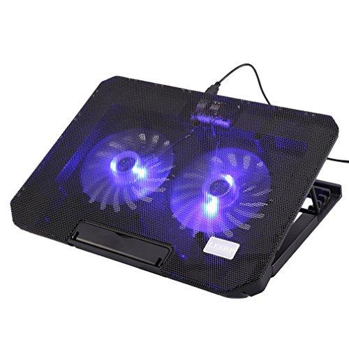 LESHP 17 Zoll Laptop Kühler Notebook Cooler Ständer Kühlpad Kühlmatte mit Dual 140mm Lüfter (36 x 26,5 x 4 cm)
