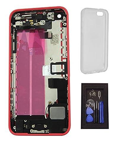iRenovo® Coque Arrière Assemblée Complète de Remplacement pour iPhone 5C Rose (Pink) (Châssis Complet,Nappe connecteur de charge, Nappe et Bouton allumage, Nappe et Boutons Volume, Nappe et Bouton Vibreur, Prise Jack, Haut-parleur, Nappe et antenne Wifi, Éjecteur et Tiroir Carte SIM, Autocollant Batterie) + Coque de protection transparente haut de gamme + Set de vis complet & Outils de réparation fournis (8 Pièces)