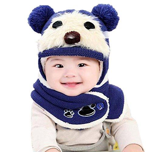 Hunpta Niedliche Winter Baby Kinder Mädchen Jungen Warm Woolen Coif Haube Schal Mützen Hüte (Blau)