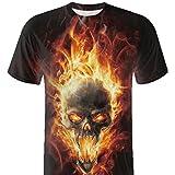 POachers T-Shirt Homme Manches Courte 3D Skull Patterns Col Rond Ete Tee Shirt Tete Mort Casual Lâche Haut Tops Chemise Sport pour Homme M-3XL (3XL, Orange)