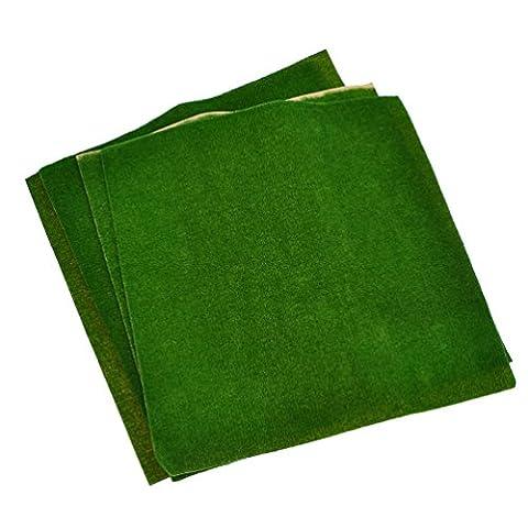 YNuth 4pcs Artificial Lawn Grass Plastic Dark Green Model Landscape Decor 25.5x25.5cm