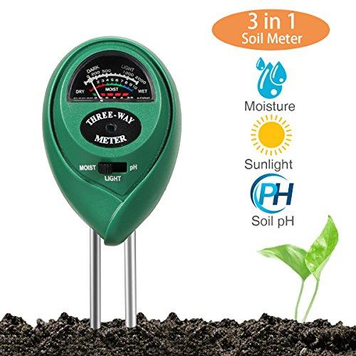 Galleria fotografica Sopoby 3-in-1Soil tester misuratore di umidità, luce e pH acidità tester, Plant Soil tester kit, ideale per giardino, interno e esterno (non richiede batteria)