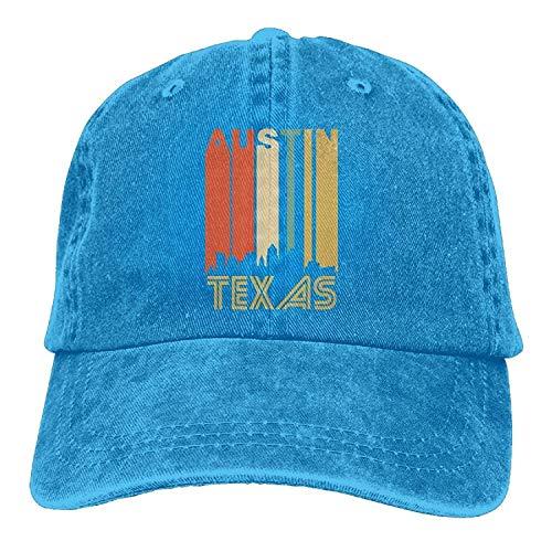 Osmykqe Retro 1970's Austin Texas Cityscape Downtown Skyline Snapback Cotton Hat GH932 Austin Baseball
