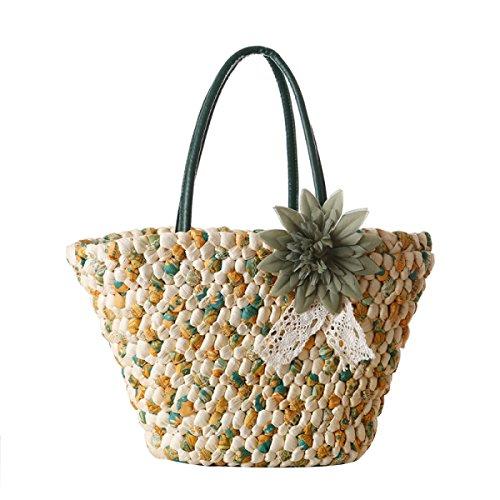 Le Donne Bohemian Fiore Paglia Summer Vacation Mano Di Modo Di Corsa Della Spalla Beach Bag armygreen