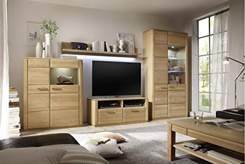 Dreams4Home Wohnkombination 'Yascha V' 4-teilig, Eiche Bianco massiv, optional mit Beleuchtung, Schrank, TV-Schrank, TV Element, Wohnwand, Wohnelement, Wohnzimmer, Regalwand, Highboard, Vitrine, Beleuchtung:ohne Beleuchtung - 2
