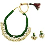 Fashionvalley Green Jeko Moti Beautiful Kundan Necklace with Earrings for Women