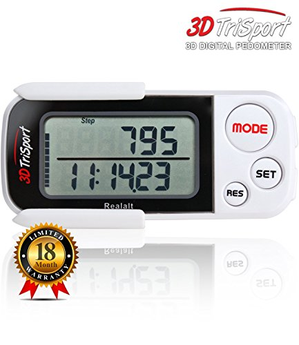 3DTriSport Supreme Quality Walking 3D Pedometer with Clip and Strap, and Free eBook | 30 Days Memory,
