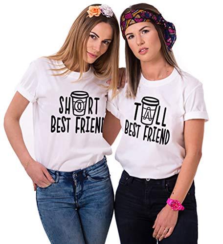Best Friend T-Shirt Sister T-Shirt Für 2 Mädchen BFF T-Shirt Damen Schwarz Weiß Baumwolle BFF Geschenk 2 Stücke -