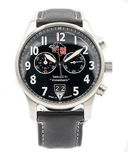 Junkers Chronograph Men's Aviator Watch Limited Edition Air Force Squadron 51 Immelmann 3666-1 - Made in Germany