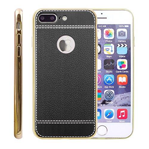 iProtect Coque en TPU pour Apple iPhone 7 Plus et iPhone 8 Plus - Étui à design Business en Beige Noir