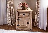 SAM Nachttisch Santa Fe, Mexico-Möbel, Nachtkommode aus Kiefernholz, Massivholz gewachst, je ein Schubfach & Tür, Hacienda-Stil