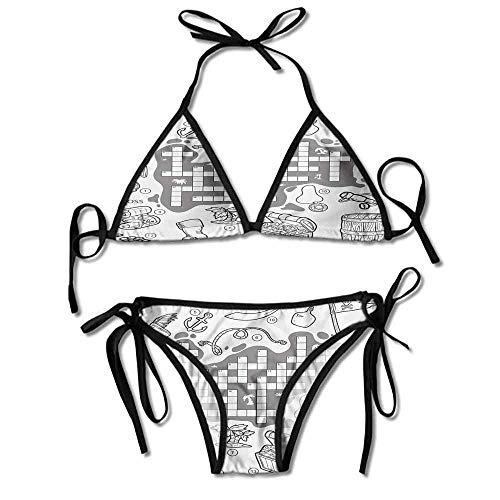 VVIANS Custom Swimsuit Cover Wrap Plus Themed Educational Puzzle Treasure Map Printing -
