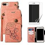 iPhone 6Funda Tipo Cartera para niñas con protector de pantalla, oyime [oro rosa gato y mariposa árbol] diseño