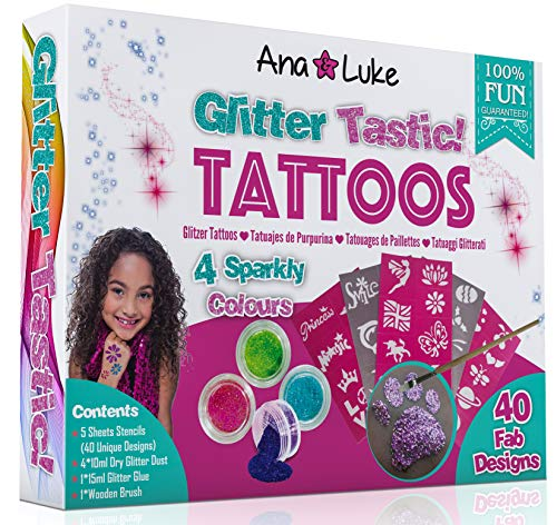 Ana and Luke Glitzer Tattoo Set Kinder, Mega Pack Kit 40 Schablonen Vorübergehende Designs für Mädchen, 4 Große Behälter mit Glitzer, Klebstoff, Pinsel für Gesicht, Körper.