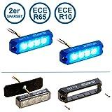 2er Sparset LED-MARTIN R65 PROFLASH blau - Frontblitzer - Straßenräumer -Blitzmodul - Feuerwehr - Polizei - Rettungsdienst