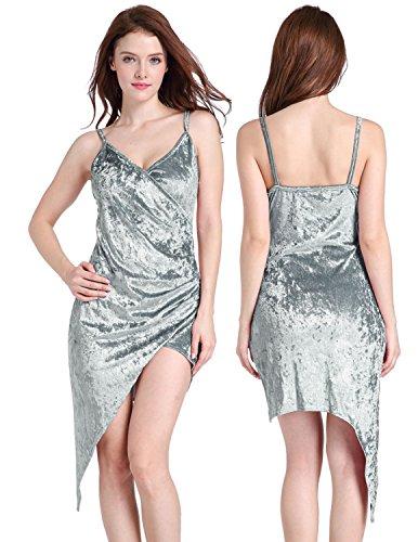 Modetrend Robe Casual Cami Sans Manches Velours Dress Écrasé Extensible Midi Moulante Robe Irrégulier Pour Femmes Gris