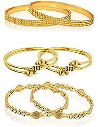 Zeneme Golden Plated Bangle Set For Women - Pack Of 6…