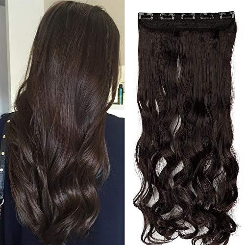 "TESS Haarteil Clip in Extensions wie Echthaar Dunkelbraun Haarverlängerung 1 Tresse 5 Clips günstig Gewellt Haarverdichtung 24\""(60cm)-120g"