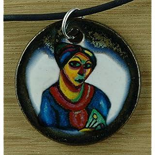 Echtes Kunsthandwerk: Hübscher Keramik Anhänger nachempfunden Alexej von Jawlensky; Künstler, Maler, Expressionismus, Gemälde, Kunstdruck