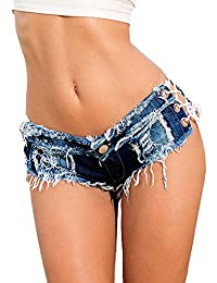 Minetom Denim Frauen Mädchen Sommer Quaste Party Nacht Club Ausgefranste  Seil String Shorts Hotpants Damen Shorts Kurz Jeans Mini Low… 7e7e6101c6