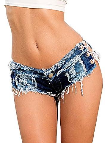 Minetom Denim Frauen Mädchen Sommer Quaste Party Nacht Club Ausgefranste Seil String Shorts Hotpants Damen Shorts Kurz Jeans Mini Low Waist Hose Kurzschlüsse Blau DE 36/Taille
