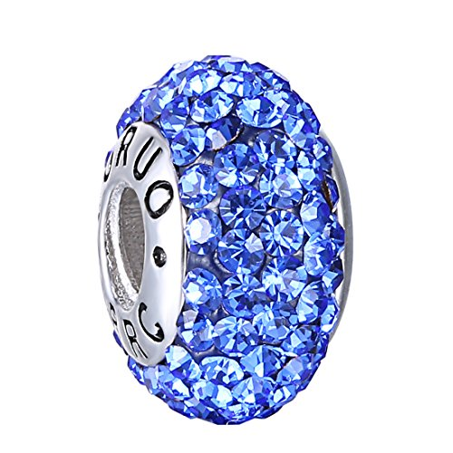 Boruo 925 Sterling Silver Czech Crystal Sapphire