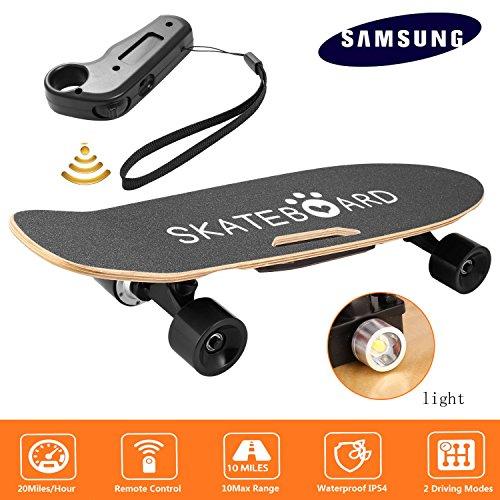 Diaped Skateboard Électrique avec Télécommande sans Fil avec Lumière avant, Planche à Roulettes PU 73mm...