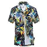 Polos Manga Corta Hombre Estampados,Modaworld Camisa De Manga Corta Estampada para Hombre Camisa Hawaiana para Vacaciones Blusa Playa Deportiva
